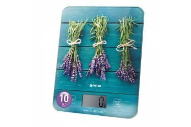 Весы кухонные электронные Vitek VT-2415 макс.вес:10кг голубой/рисунок