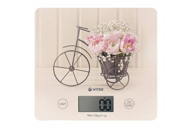 Весы кухонные электронные Vitek VT-8016 макс.вес:10кг бежевый/рисунок