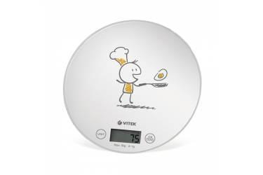 Весы кухонные электронные Vitek VT-8018 макс.вес:5кг белый/рисунок