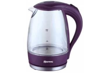 Чайник электрический Элис ЭЛ-1107 стекло+фиолетовый пластик 2200ВТ 1,7л