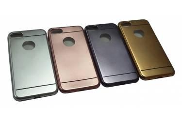 Силиконовая накладка Iphone 6 (с окошк.под ябл.) серебро