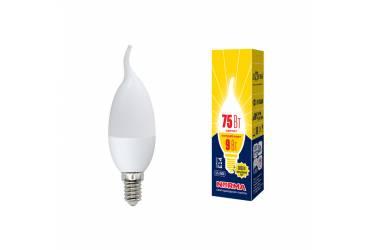 Лампа светодиодная Uniel Norma LED-CW37-9W/WW/E14/FR/NR 3000K свеча на ветру