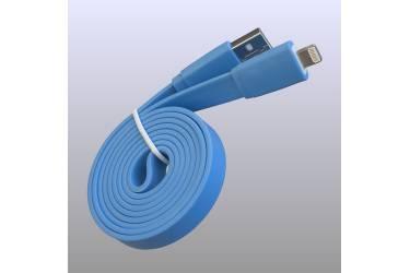 Кабель USB для Iphone плоский 5, 6s, 8 pin, 1м, голубой