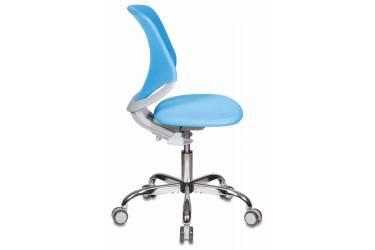 Кресло детское Бюрократ KD-7/TW-55 голубой TW-55 крестовина хром колеса серый (пластик серый)