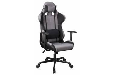 Кресло игровое Бюрократ 771/GREY+BL две подушки серый сиденье серый полиэтилен крестовина металл колеса черный