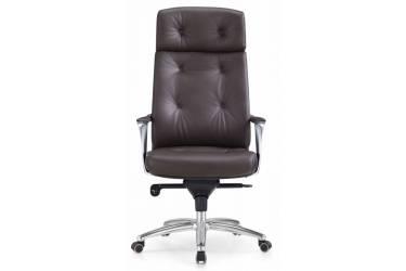 Кресло руководителя Бюрократ _DAO/BROWN коричневый кожа крестовина алюминий