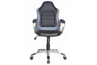 Кресло руководителя Бюрократ CH-825S/Black+Gr вставки серый сиденье черный искусственная кожа (пластик серебро)