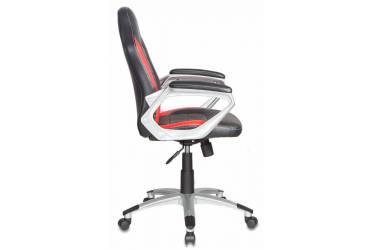 Кресло руководителя Бюрократ CH-825S/Black+Rd вставки красный сиденье черный искусственная кожа (пластик серебро)