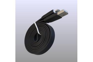 Кабель USB для Iphone плоский 5, 6s, 8 pin, 1м, чёрный
