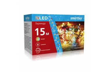 LED Гирлянда Smartbuy с контроллером, RGB, 15м, 200 диодов, IP20, прозрачный провод (SB-RGB-15m)