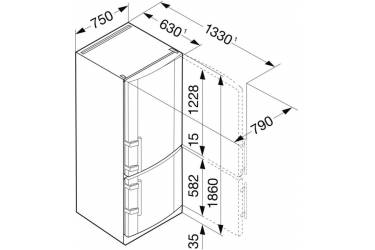 Холодильник Liebherr CNPesf 4613 серебристый (двухкамерный)