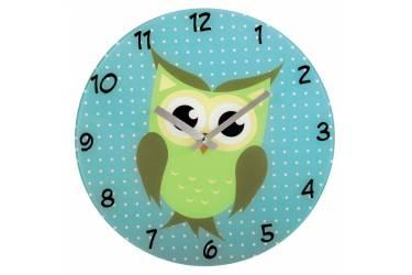 Часы настенные аналоговые Hama Owl голубой