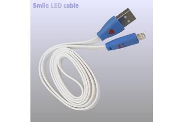 Кабель USB для Iphone 5, 6s, 8pin, светящийся смайлик белый 1м