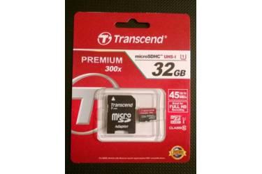 Карта памяти Transcend MicroSDHC 32GB Class 10 UHS-I (400x)+adapter