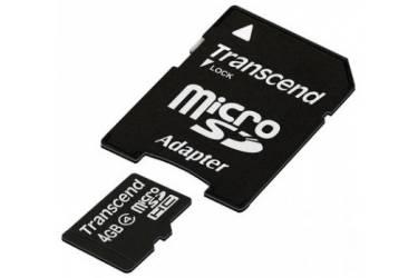 Карта памяти Transcend MicroSDHC 4GB Class 4+adapter