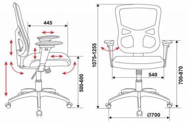 Кресло руководителя Бюрократ CH-888 спинка сетка черный Z1 сиденье черный TW-11