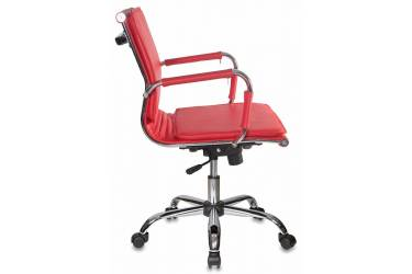 Кресло руководителя Бюрократ Ch-993-Low красный искусственная кожа низк.спин. крестовина металл хром