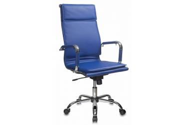 Кресло руководителя Бюрократ CH-993/blue синий искусственная кожа крестовина хром