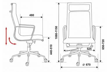Кресло руководителя Бюрократ CH-996 черный сетка крестовина