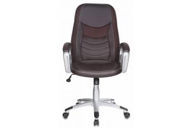 Кресло руководителя Бюрократ T-9910/BROWN коричневый искусственная кожа (пластик серебро)