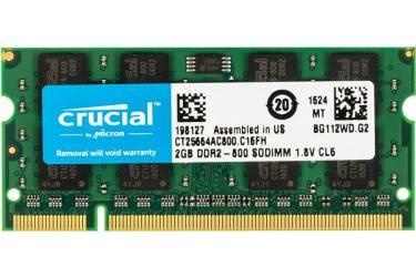 Память DDR2 2Gb 800MHz Crucial CT25664AC800 RTL PC2-6400 CL6 SO-DIMM 200-pin 1.8В