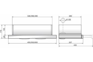 Вытяжка встраиваемая Elikor Интегра Glass 45Н-400-В2Д нержавеющая сталь/стекло черное управление: кнопочное (1 мотор)