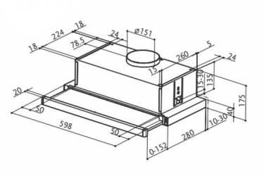 Вытяжка встраиваемая Faber Flexa GLASS M6 W A60 белый управление: ползунковое (1 мотор)