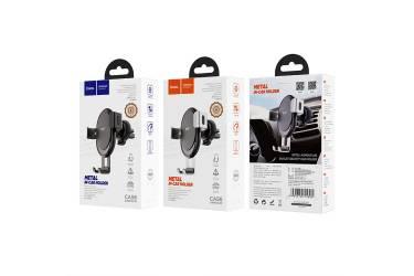 Автодержатель Hoco CA56 Metal armour air outlet gravity car holder (Black/Silver)