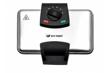 Вафельница Kitfort KT-1606 1000Вт серебристый/черный