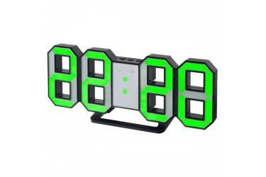 "LED часы-будильник Perfeo ""LUMINOUS"", черный корпус / зелёная подсветка"