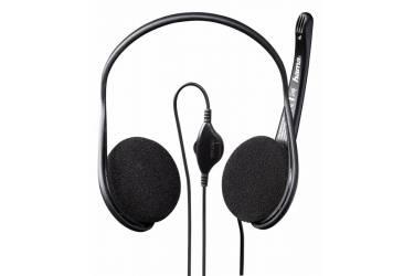 Наушники с микрофоном Hama Black Stripe черный 2м накладные шейный обод (00053979)