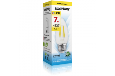 Светодиодная (LED) Лампа FIL (прозрачная) Smartbuy-C37-07W/3000/E27