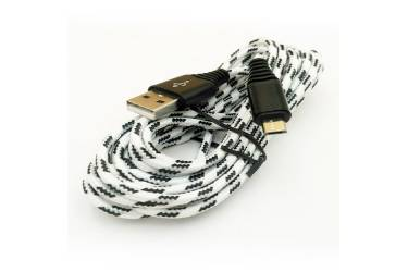 Кабель USB Smartbuy Type C, нейлон, защ. от перелам., белый, длина 2.0 м, 3А