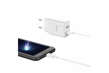 CЗУ Hoco C62A Victoria dual port charger set + Micro (белый)