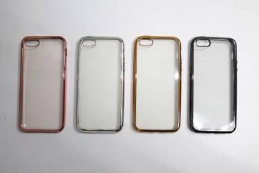 Силиконовая накладка Iphone 5C/5S прозр.бампер розовая