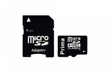 Карта памяти Prima MicroSDHC 8GB Class 4+adapter