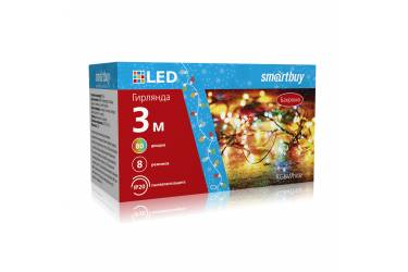 LED Гирлянда Smartbuy Бахрома с контролл., RGB, 3*0,5м, 80 диодов, IP20, прозр.провод (SB-RGBБАХ-3m)