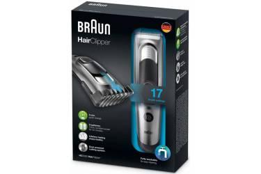 Машинка для стрижки Braun HC5090 серебристый/черный (насадок в компл:2шт)