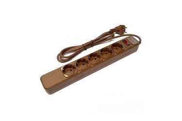 Сетевой фильтр Perfeo 3м, 5 розеток, коричневый
