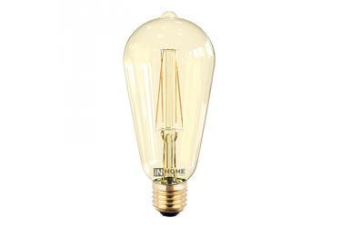 Лампа светодиодная ASD LED-ST64-deco 7Вт 230В Е27 3000К 630Лм золотистая IN HOME