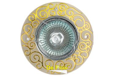 Светильник точечный_DE FRAN_ FT 195 SNG MR16 сатин-никель+золото со стразами