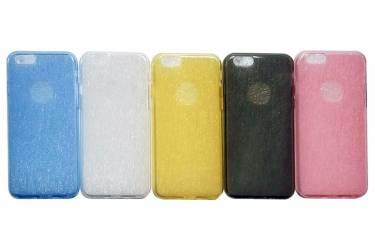Силиконовая накладка матовая с блеск.окошк.под ябл.Iphone 6 желтый