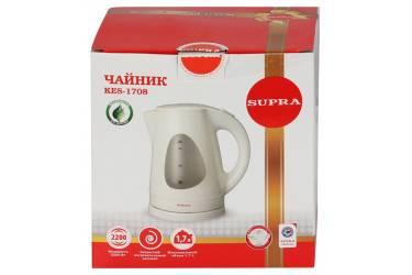 Чайник электрический Supra KES-1708 1.7л. 2200Вт белый/фисташковый (корпус: пластик)
