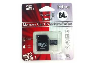 Карта памяти Prima MicroSDXC 64GB Class + adapter