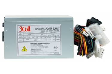 Блок питания 3Cott-500ATX, 500Вт, A.PFC, 20+4P, 4* MOLEX, 5* SATA, 1* PCI-E (6+2P), 1* FD