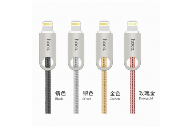 Кабель USB Hoco U8 Zinc alloy metal lightning Charging cable (1M) Золотистый