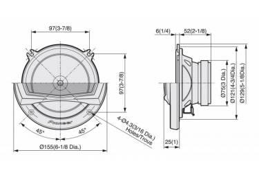 Колонки автомобильные Pioneer TS-A132CI 300Вт 89дБ 4Ом 13см (5дюйм) компонентные двухполосные