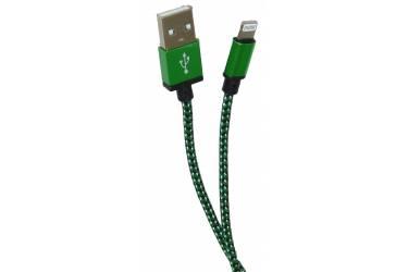 Кабель USB для Iphone 5, 6s, 8 pin, текстиль, зеленый, 1м