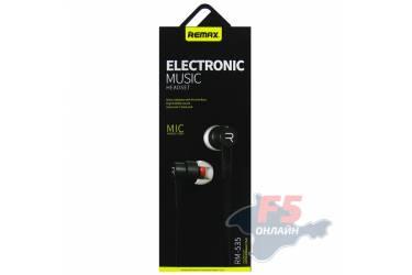 Наушники Remax RM-535 (black) внутриканальные с микрофоном
