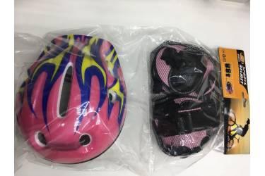 Комплект защиты - шлем + наколенники + перчатки (Розовый огонь)
